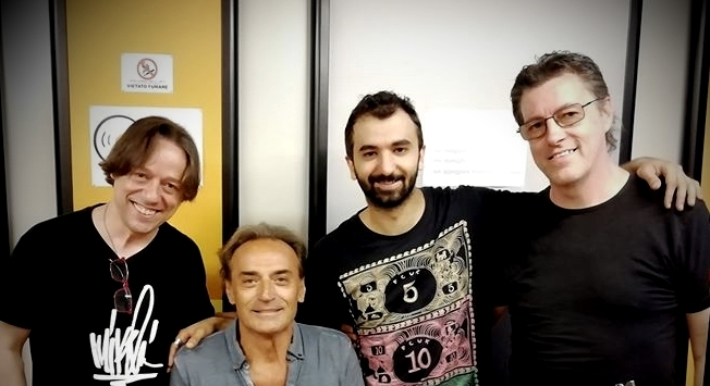 from left to right: Lorenzo Gabanizza (voice, acoustic guitar, keyboards, strings, back vocals), Robby Pellati (drums), Luca Marcìas (electric guitar), Max Gabanizza (Bass)