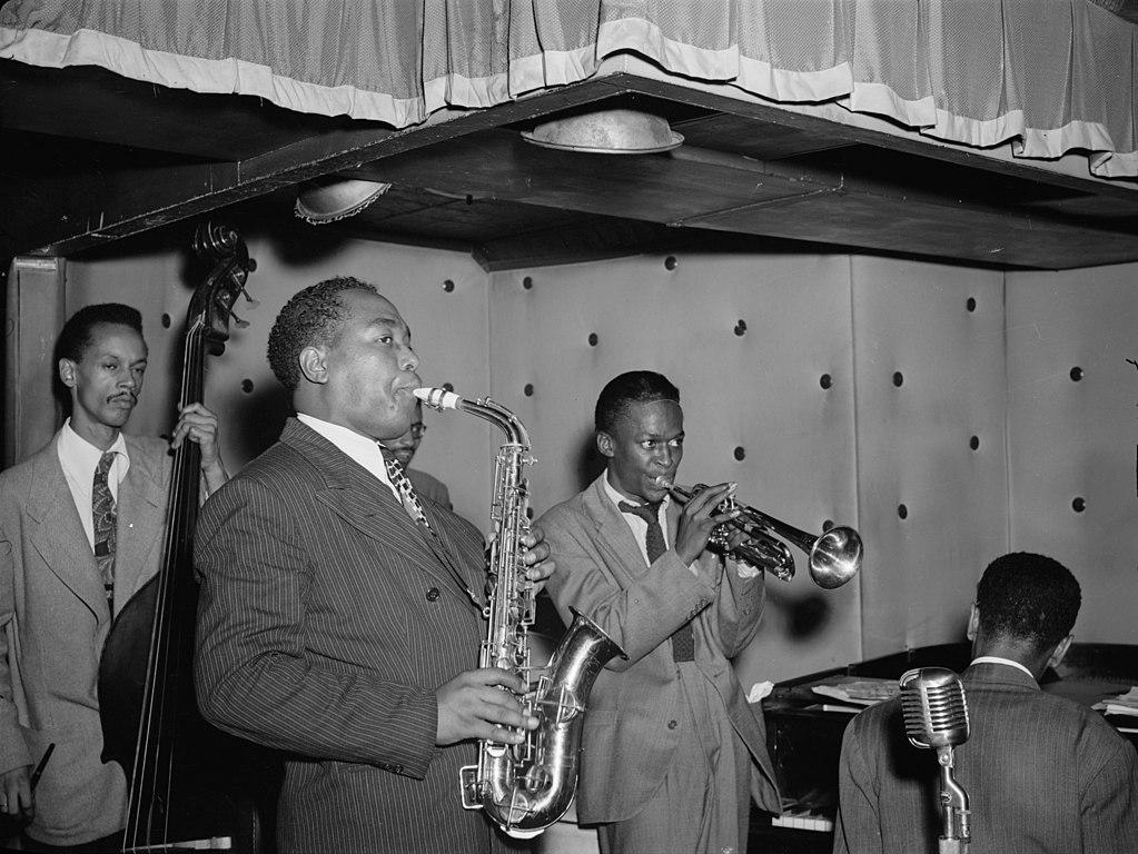 Tommy Potter, Charlie Parker, Max Roach, Miles Davis, Duke Jordan in August 1947