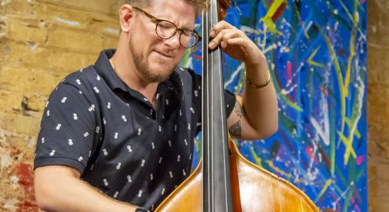 "7/17/19 - The Andrew Vogt Quartet performed  Christian McBride's 2006 release ""LIVE AT TONIC"" at Chris Anderson's Jazz Record Art Collective in Chicago.  Andrew Vogt - Bass, Rajiv Halim - Sax, Amr Marcin Fahmy - Keys, Xavier Breaker - Drums. Artist for the evening was Julie Vogt."